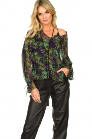 Patrizia Pepe |  Blouse with floral print Iris | black  | Picture 2