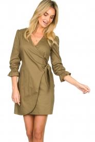 Patrizia Pepe |  Popline wrap dress Ricky | green  | Picture 2