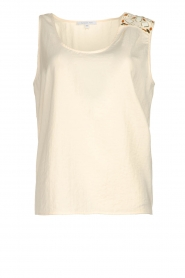 Patrizia Pepe |  Top with decoration Nikki | natural  | Picture 1