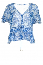 Patrizia Pepe |  Blouse with print Caesar | blue  | Picture 1