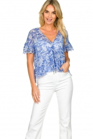 Patrizia Pepe |  Blouse with print Caesar | blue  | Picture 2