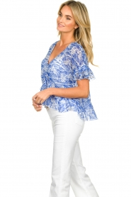 Patrizia Pepe |  Blouse with print Caesar | blue  | Picture 5