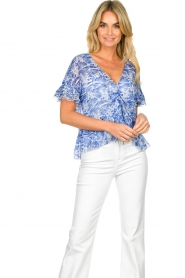 Patrizia Pepe |  Blouse with print Caesar | blue  | Picture 4
