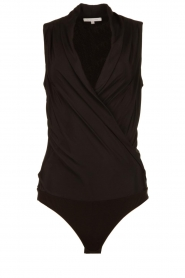 Patrizia Pepe |  Body top with V-neck Kyra | black  | Picture 1