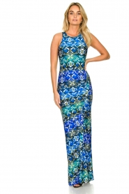 Patrizia Pepe |  Figure-hugging maxi dress Liza | blue  | Picture 3