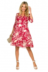 Les Favorites |  Midi dress with flower print | red  | Picture 3