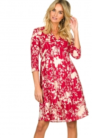 Les Favorites |  Midi dress with flower print | red  | Picture 2