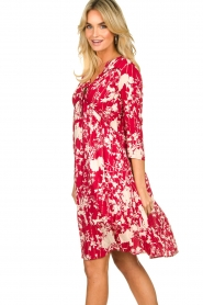 Les Favorites |  Midi dress with flower print | red  | Picture 5