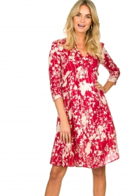 Les Favorites |  Midi dress with flower print | red  | Picture 4