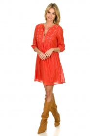 Les Favorites |  Embroidery dress with lurex Kylie | red  | Picture 3