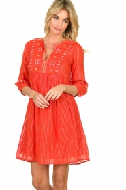 Les Favorites |  Embroidery dress with lurex Kylie | red  | Picture 2