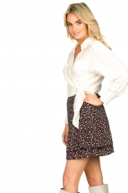 Les Favorites |  Mini skirt with floral print | black  | Picture 5