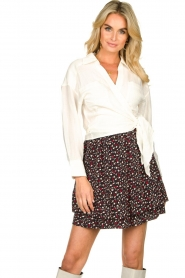 Les Favorites |  Mini skirt with floral print | black  | Picture 2