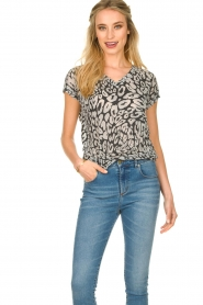 Les Favorites |  Leopard printed T-shirt Luca | black  | Picture 2