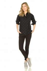 Les Favorites |  Blouse with golden dots Fien | black  | Picture 3