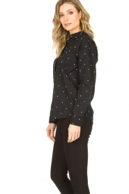 Les Favorites |  Blouse with golden dots Fien | black  | Picture 4