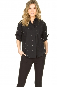 Les Favorites |  Blouse with golden dots Fien | black  | Picture 2