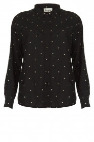 Les Favorites |  Blouse with golden dots Fien | black  | Picture 1