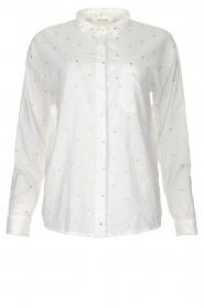 Les Favorites |  Blouse with golden dots | white  | Picture 1