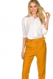 Les Favorites |  Blouse with golden dots | white  | Picture 2