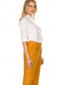 Les Favorites |  Blouse with golden dots | white  | Picture 4
