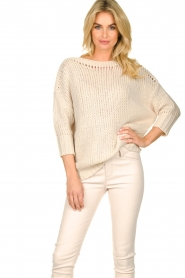 Les Favorites |  Knitted sweater Sabina | beige  | Picture 2