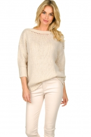 Les Favorites |  Knitted sweater Sabina | beige  | Picture 4