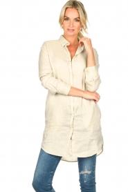 Blaumax |  Linen shirt dress Marylene | beige  | Picture 4