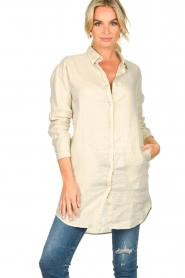 Blaumax |  Linen shirt dress Marylene | beige  | Picture 2