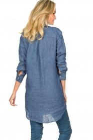 Blaumax |  Linen shirt dress Marylene | blue  | Picture 5