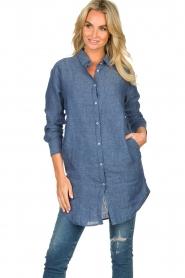 Blaumax |  Linen shirt dress Marylene | blue  | Picture 2