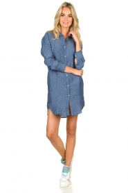 Blaumax |  Linen shirt dress Marylene | blue  | Picture 3