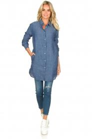 Blaumax |  Linen shirt dress Marylene | blue  | Picture 6