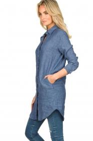 Blaumax |  Linen shirt dress Marylene | blue  | Picture 4