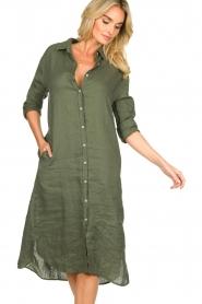 Blaumax |  Linen dress Maryann | green  | Picture 6