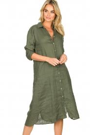 Blaumax |  Linen dress Maryann | green  | Picture 2