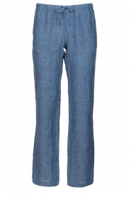 Blaumax |  Low waist linen pants Beach | blue  | Picture 1