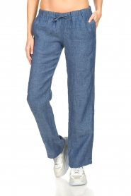 Blaumax |  Low waist linen pants Beach | blue  | Picture 2