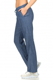 Blaumax |  Low waist linen pants Beach | blue  | Picture 4