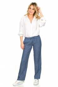 Blaumax |  Low waist linen pants Beach | blue  | Picture 3