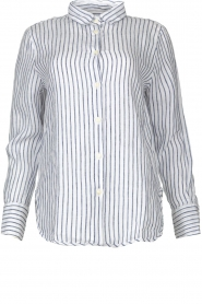 Blaumax |  Striped linen blouse Mindy | white  | Picture 1
