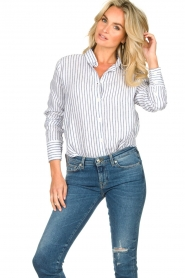 Blaumax |  Striped linen blouse Mindy | white  | Picture 4