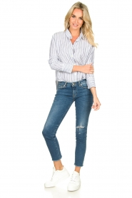 Blaumax |  Striped linen blouse Mindy | white  | Picture 3