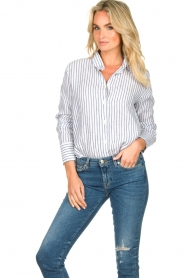Blaumax |  Striped linen blouse Mindy | white  | Picture 2
