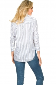Blaumax |  Striped linen blouse Mindy | white  | Picture 6