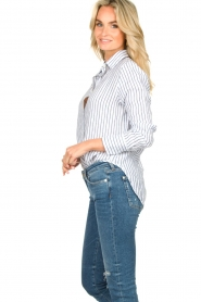 Blaumax |  Striped linen blouse Mindy | white  | Picture 5