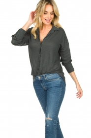 Blaumax |  Linen blouse Maddy | black  | Picture 4