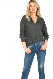 Blaumax |  Linen blouse Maddy | black  | Picture 2