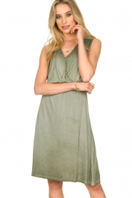 Blaumax |  Soft dress with V-neck Arezzo | green  | Picture 2