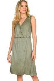 Blaumax |  Soft dress with V-neck Arezzo | green  | Picture 4